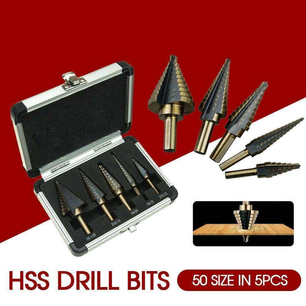 Keyohome 5 Pcs HSS Thép Nón Mũi Khoan Titanium Bit Bộ Bộ Lỗ Cắt + Nhôm Ốp Lưng