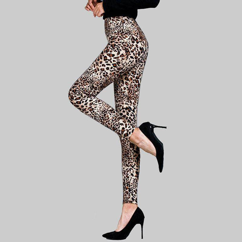 Woman/'s Cheetah Leggings Stretchy Elastic Waist NWT