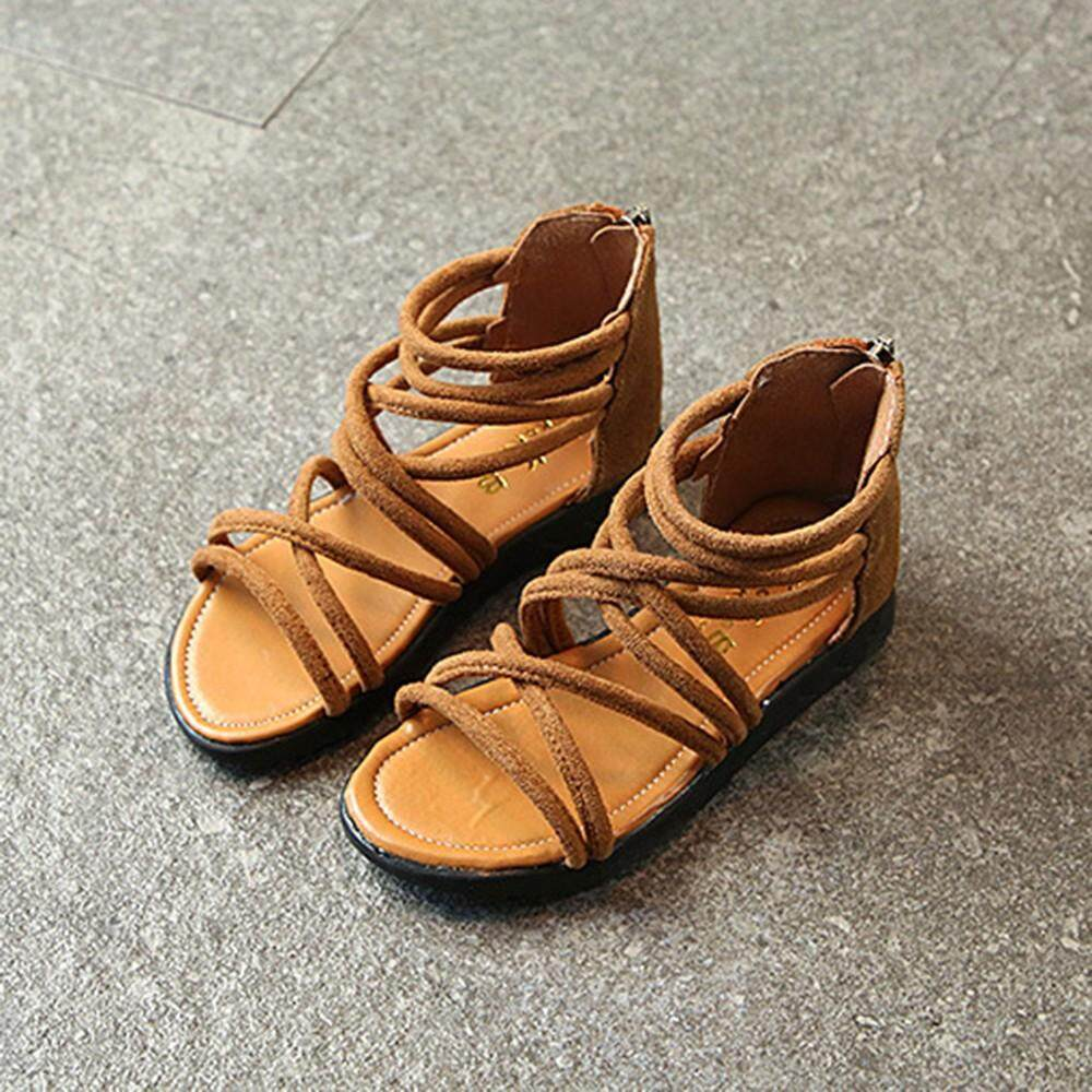 34a16c2fbb7d0 2019 M K Children Infant Kids Girls Solid Leather Zip Boot Beach Sandals  Casual Shoes