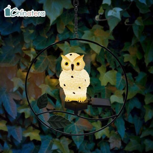 [Chinatera] Dễ Thương Owl Bird LED Treo Năng Lượng Mặt Trời Ánh Sáng Không Thấm Nước Ngoài Trời Bãi Cỏ Sân Vườn Trang Trí Nghệ Thuật Sắt Nhựa Đèn Ngủ
