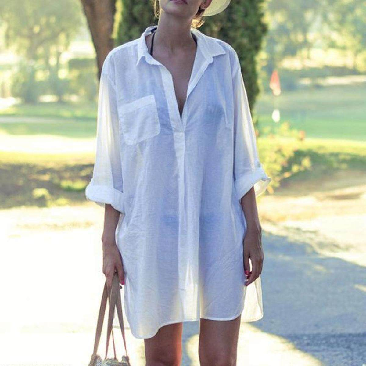 0050091954cb4 Saida De Praia Beach Dress Tunic Pareos For Women Kaftan 2018 New Cotton  Shirt Long Sleeve