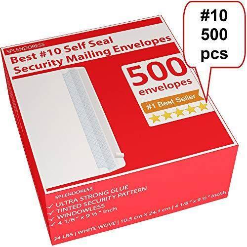 Splendoress Mailing Envelopes Self Seal - #10 Security White Letter Businesses Envelopes -500 Peel and Seal Tinted Windowless # 10 Envelope - Printer Friendly - Self Stick Bulk Envelops