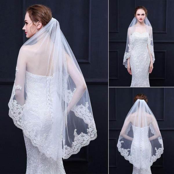 Cô dâu Thêu Tinh Tế Nhẹ Thanh Lịch Với Lược Cuộc Hôn Nhân Ngắn Viền Ren Mơ Cưới Veil