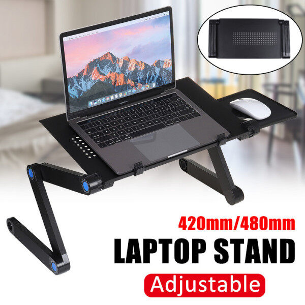 Bảng giá 【42/48 x 26cm】(360°Adjustable) Foldable Desk Multi-Fuction Laptop Stand Computer Cooling Desk Home Bed Tray Table Stand W/ Removable Mouse Holder For Notebook Eye-Level Portable Desk Phong Vũ
