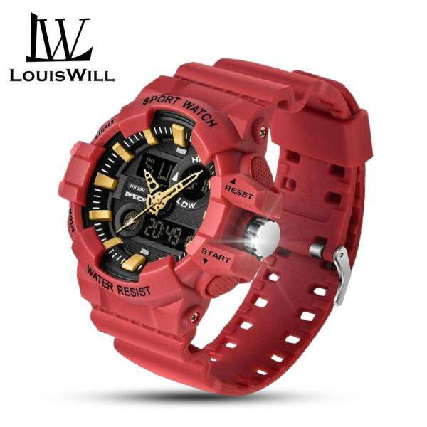 LouisWill Men Watches 30M Waterproof Watches Digital Watches Sport Watches Fashion Men Luminous Wristwatches Dual Display Multifunctional Shockproof Watches for Men Malaysia