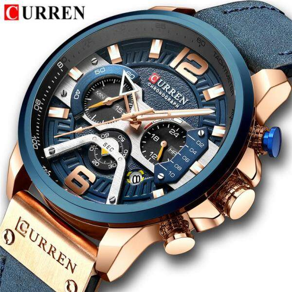 CURREN Top Luxury Mens Brand Watches Fashion Creative Quartz 12/24 Hour Chronograph Men Casual Sport Waterproof Leather Watch Malaysia