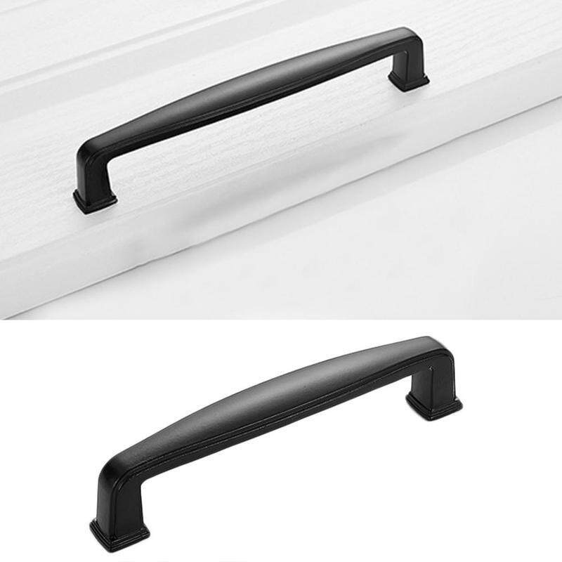 1PC Solid aluminum cabinet handle Black cabinet handle drawer hardware  Drawer handle handle Door knob handle furniture European minimalist Modern  door