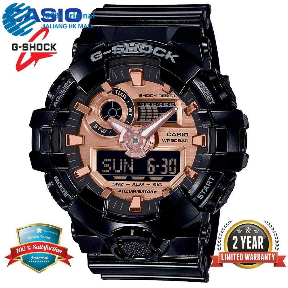 (Ready Stock) Original Casio G Shock_GA-700MMC-1A Men Sport Watch Dual Time Display 200M Water Resistant Shockproof and Waterproof World Time White LED Auto Light Wist Sports Watches with 2 Year Warranty GA700/GA-700 Black Rose Gold Malaysia