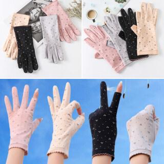 YOLK Women Cotton Elastic Sunscreen Thin Mittens Full Finger Gloves Driving Guantes Cyclist Gloves thumbnail