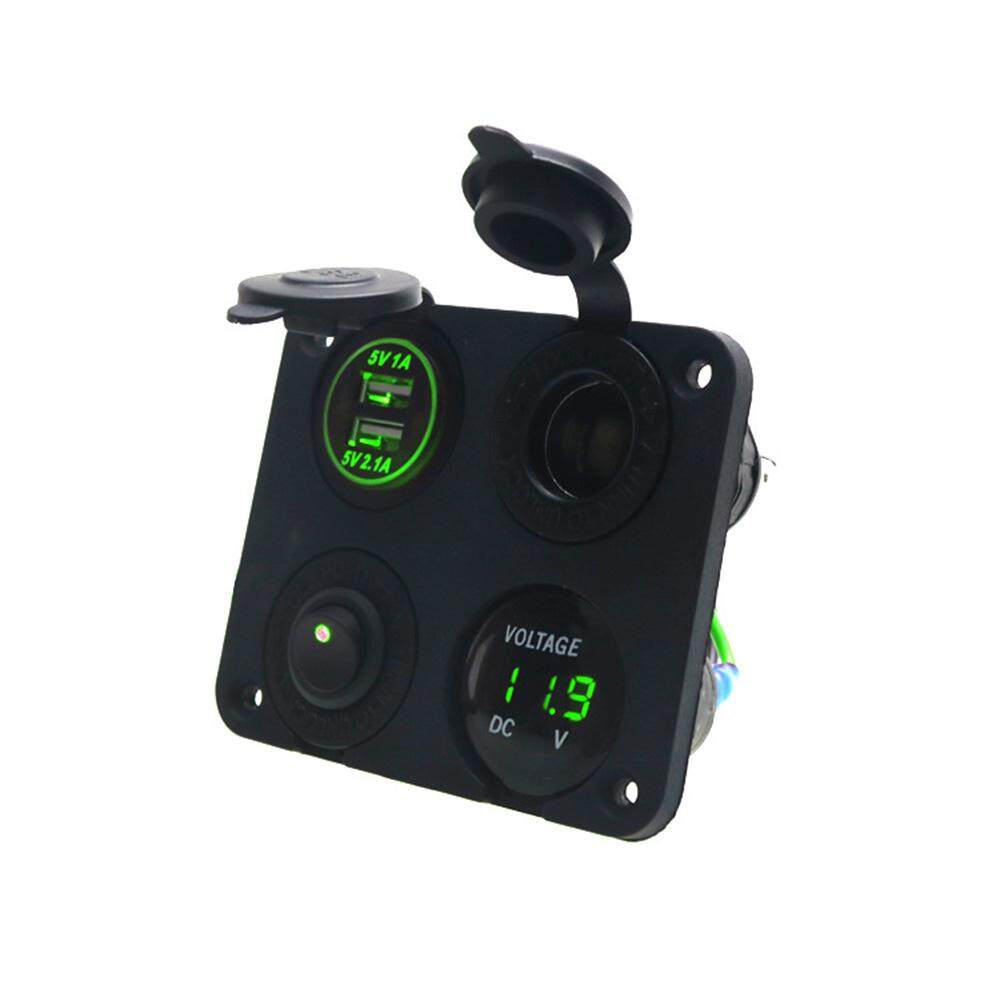 ToolStar Car Yacht 4-Hole Panel Dual USB Charger Lighter Voltmeter Switch