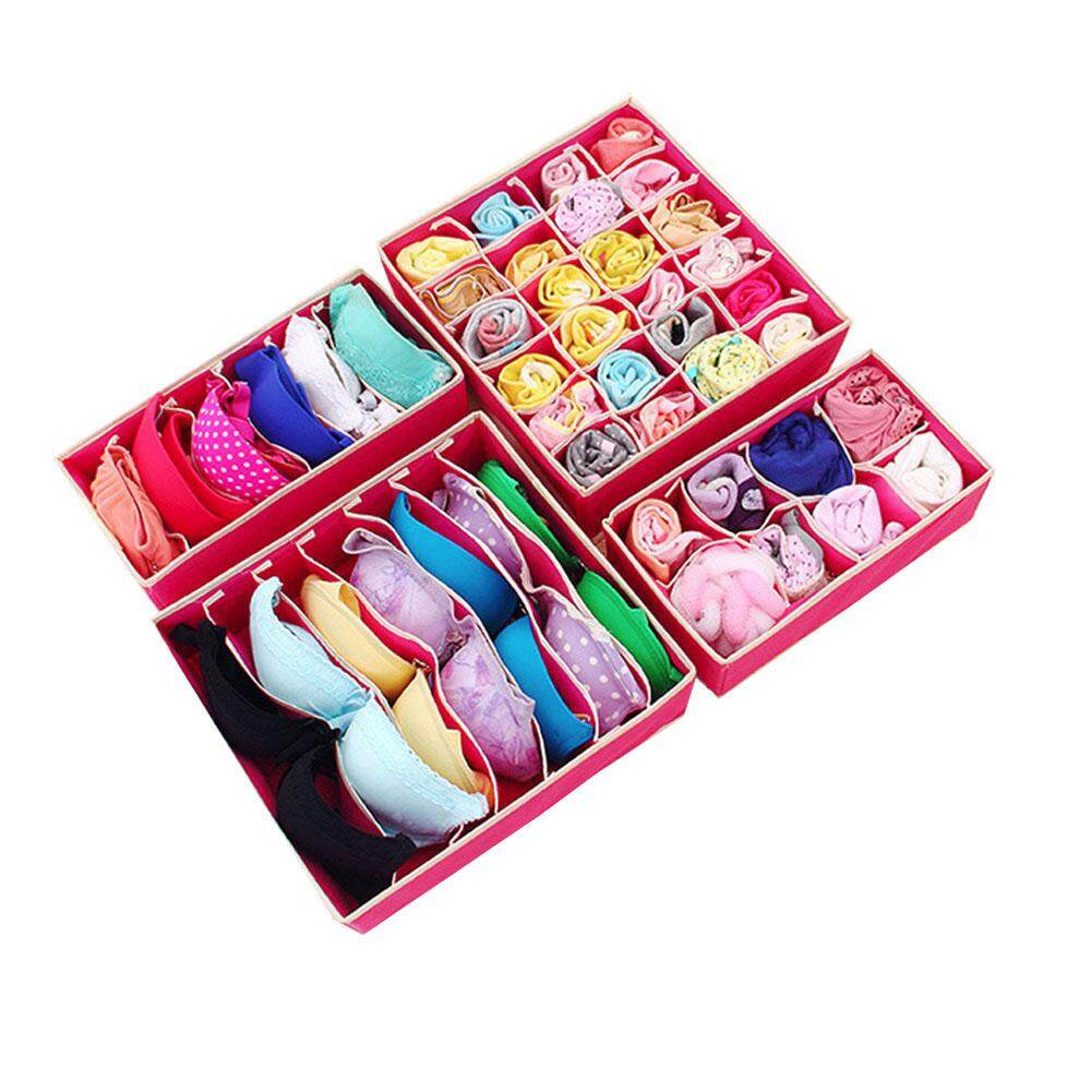 4Pcs/Set Collapsible Underwear Organizer Drawer Closet Storage Box for Underwear Scarfs Socks Bra Ties Multi Size - 3 Colour Options