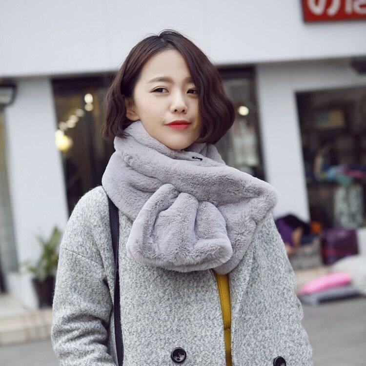 Giá bán Phiên Bản Hàn Quốc Nhỏ Dệt Kim Khăn Choàng Nữ Mùa Thu Và Mùa Đông Chéo Nơ Đuôi Cá Loại Hoang Lông Cừu Trang Trí Cổ Buổi Tối buổi Tối