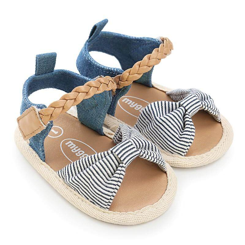 3d51d95bbb90 Fashion Girls Canvas Bow-knot Sandals Kids Beach Shoes Baby Walking Shoes  First Walkers