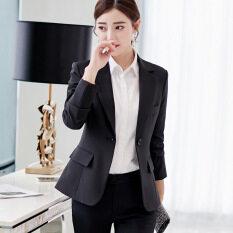 Bộ Đồ Nhỏ Mới Xuân Thu 2020 Áo Blazer Nữ Dài Tay Màu Trơn Dáng Ôm Phong Cách Hàn Quốc Áo Khoác Ngoài