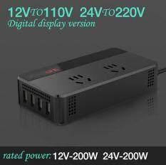 Xe INVERTER 12 V/24 V sang 110 V/220 V 200 W Nguồn Điện Bộ Chuyển Đổi Điện Áp với 4 Ổ Cắm USB Sạc