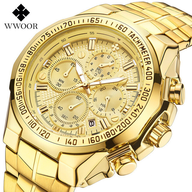 WWOOR fashion watch mens top brand luxury gold chronograph mens watch gold large mens watch mens stainless steel 4 small plate 7 pin mens watch Relogio Masculino Malaysia