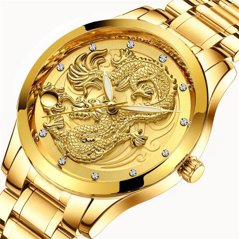 Brand New 3D Engraving Golden Dragon Quartz Mens Watch Top Brand Luxury Fashion Stainless Steel Watches for Men Malaysia