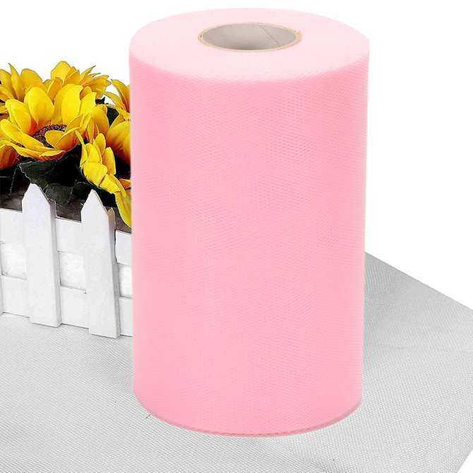 Tulle Pernikahan Baut Gulungan Gulung Ekstra Besar 6 Inci X 200 Meter (600FT) untuk Dekorasi Pesta Pernikahan, Perlengkapan Pesta, Merah Muda