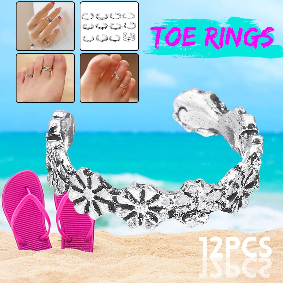 12PCS  Adjustable Open Toe Ring lot Finger Foot Celebrity Jewelry Retro Silver