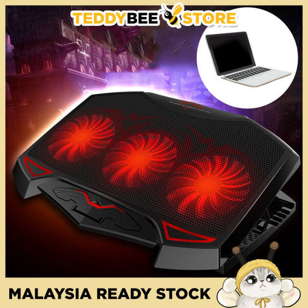 Powerful Dual USB Laptop Cooling Pad Cooler LED 3 Fans Adjustable Height Malaysia
