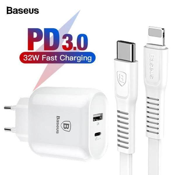 Baseus Bộ sạc USB C PD 32W cho iPhone Xs X Sạc nhanh Loại C PD 3.0 Sạc điện thoại di động Sạc nhanh Type-c PD Sạc USB