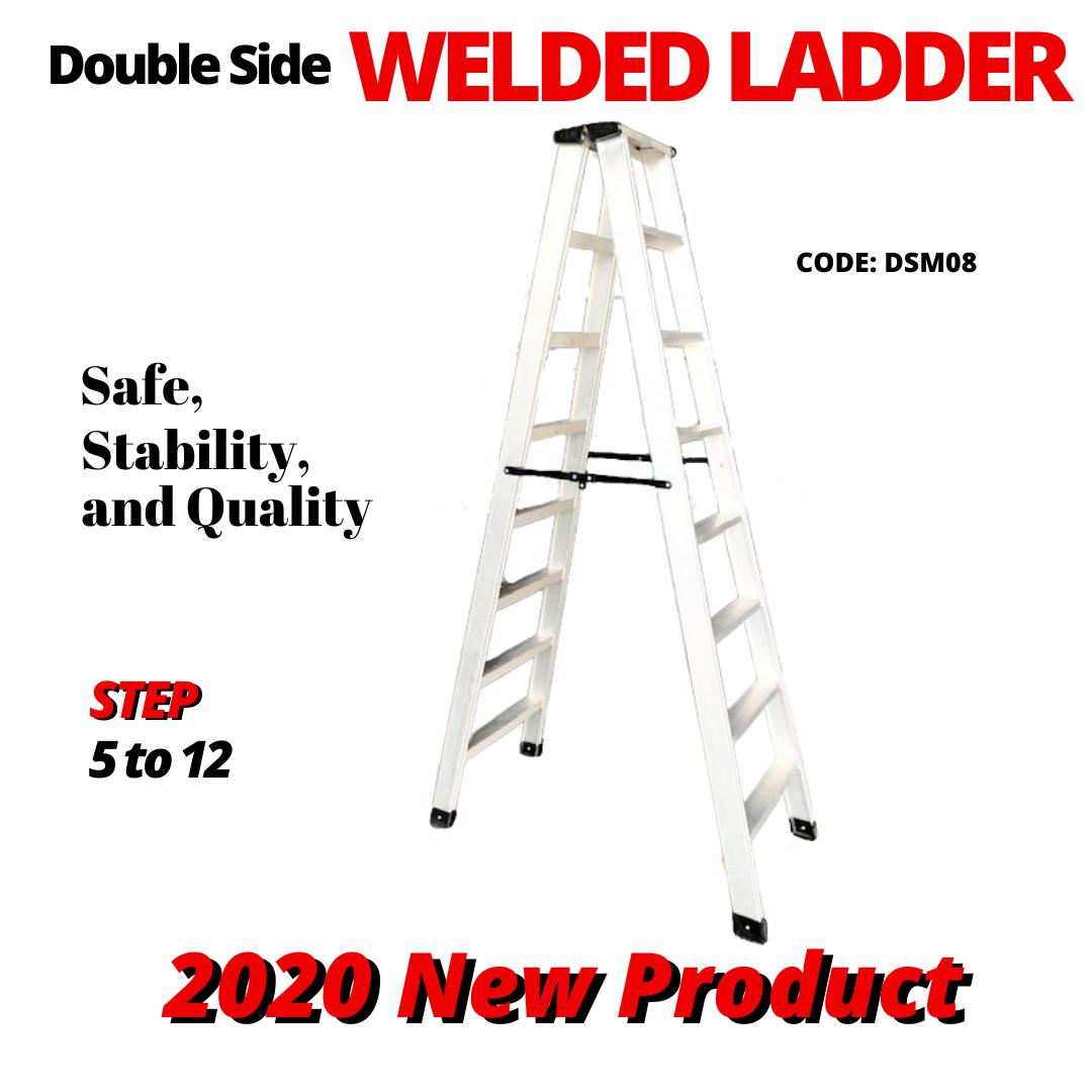 8 Steps Heavy Duty Aluminium Double Sided Welded Ladder 铝制焊接楼梯 Tangga Lipat
