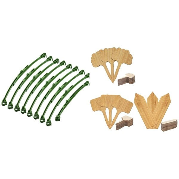 20 Pcs Tomato Trellis Connectors Stake Arms with 60Pcs Bamboo Plant Label, 3 Kinds of Plant Label Label