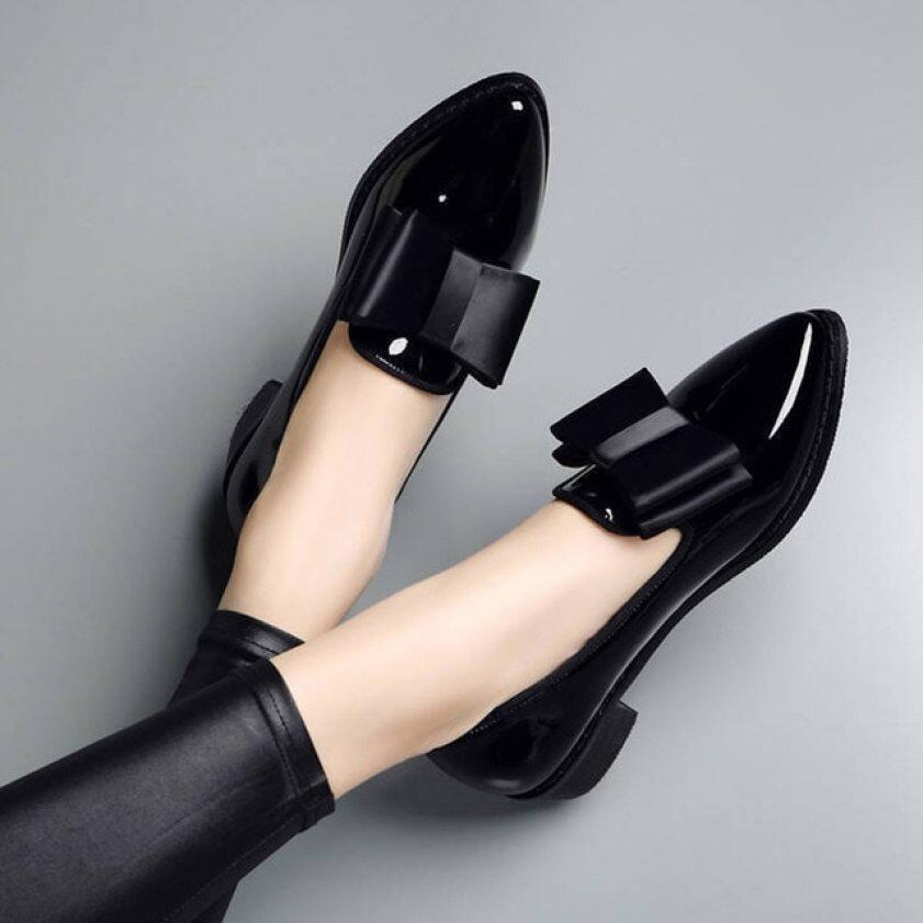 Giày Nữ Cỡ Lớn Giày Oxford Màu Đen Giày Lười Mũi Nhọn Trượt Trên Giày Đế Bằng Nữ Căn Hộ Bằng Sáng Chế Giày Thuyền Zapatos Mujer 75h83 giá rẻ