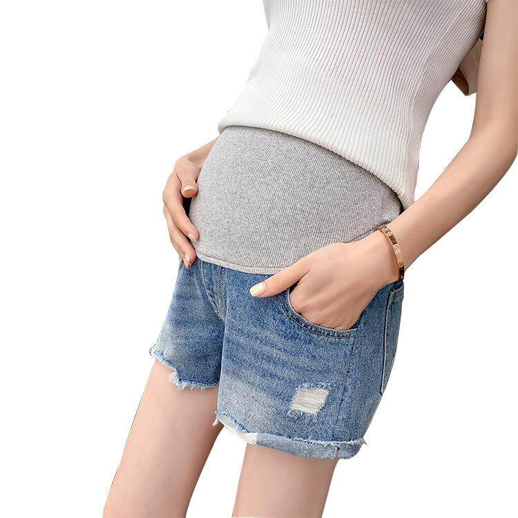 028c7c9ef833e Denim Maternity Shorts For Pregnant Women Clothing Pregnancy Cotton Clothes  Short Belly Skinny Jeans Pants Gravida