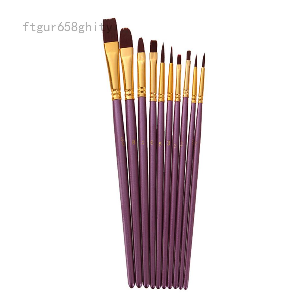 Metagio 10 Cái/bộ Nylon Tóc Sơn Dầu Brush Set Liner Vòng Filbert Tự Làm Màu Nước Bút Cho Nghệ Thuật Vẽ Tranh