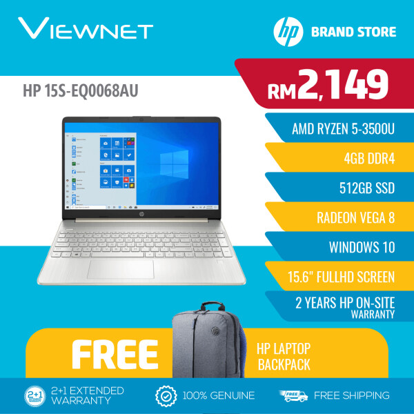 HP 15s-eq0068au 15.6 FHD Laptop (9WF24PA), Ryzen 5-3500U, 4GB DDR4, 512GB SSD, Radeon Vega 8, Windows 10, Gold Malaysia