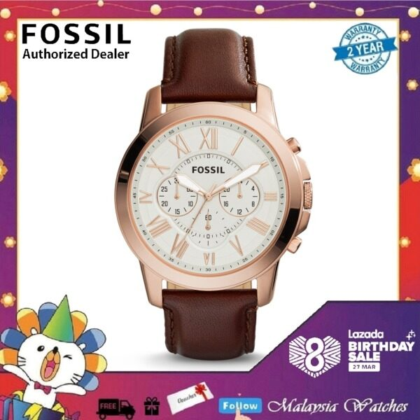 Fossil Mens Brown Grant Chronograph Leather Strap Watch FS4991 Malaysia