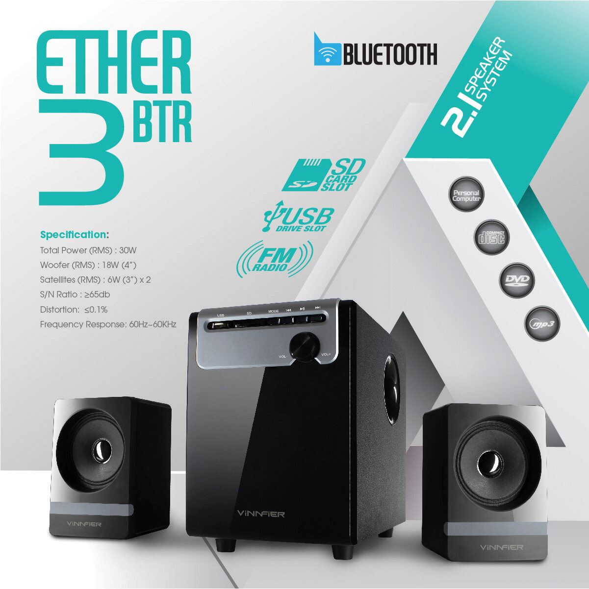 VINNFIER Ether 3 BTR 2.1 Speaker with Built in Bluetooth, FM, Micro SD and USB Malaysia