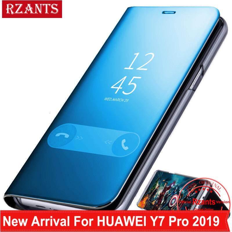 Rzants untuk Huawei Y7 Pro 2019 Case Mewah Slim【mirror】intelligent Berdiri Ponsel Putar Kulit Casing