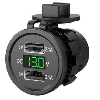 Bộ Chuyển Đổi Ổ Cắm Sạc USB Hai Cổng Chống Nước 5V 2.1A, Ổ Cắm Điện Với Vôn Kế Hiển Thị Điện Áp Cho Xe Hơi Thuyền Xe Máy 12-24V thumbnail