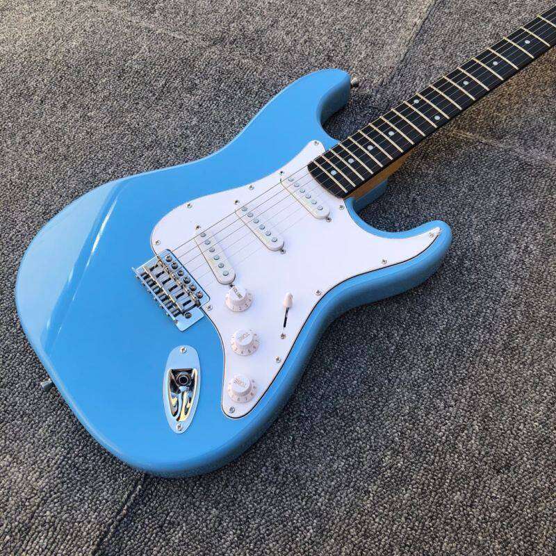 Sky blue ST electric guitar,21 frets rosewood fingerboard,SSS pickup,Alder wood body Malaysia