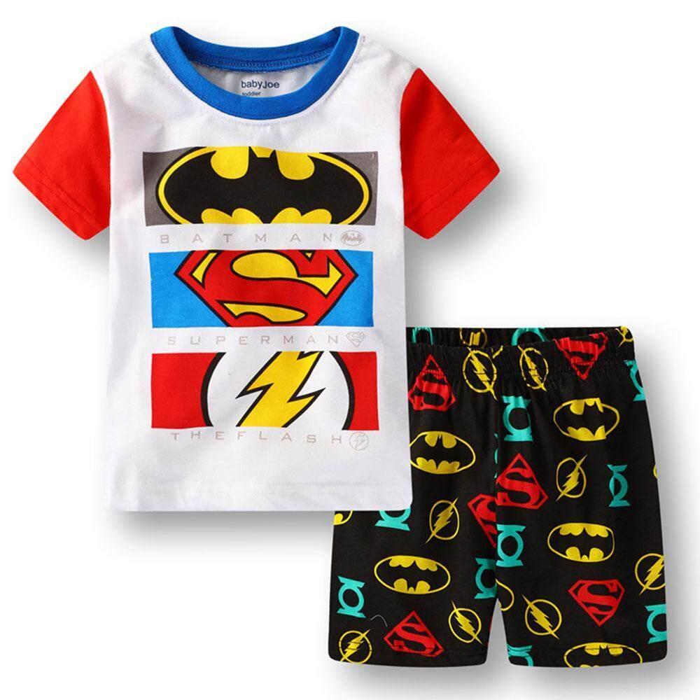 ง่ายสนุกเสื้อผ้าเด็กชุดแขนสั้นการ์ตูน + ชุดกางเกงขาสั้น By Easy Fun.