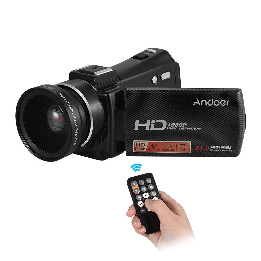 "Andoer HDV-V7 PLUS 1080P Full HD 24MP Portable Digital Video Camera Camcorder Remote Control Infrared Night Vision Recorder + 0.45X Wide Angle Lens 16X Zoom 3.0"" Rotary LCD"