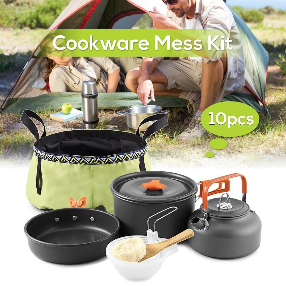Camping Cooking Utensil Set Folding Pot Frying Pan 800ml Tea Coffee Kettle