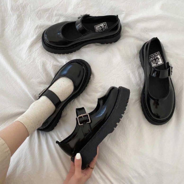 Aurora. An, giày đế bằng nữ, giày da nhỏ Mary Jane Nhật Bản JK, nữ sinh viên, phiên bản Hàn Quốc, phong cách retro Hoang Dã của Anh giá rẻ