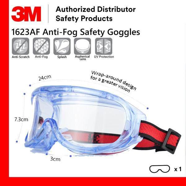 3M 1623AF Safety Goggles Anti Fog Anti Scratch UV Resistance/ Safety Eyewear [Clear/ Transparent Lens]