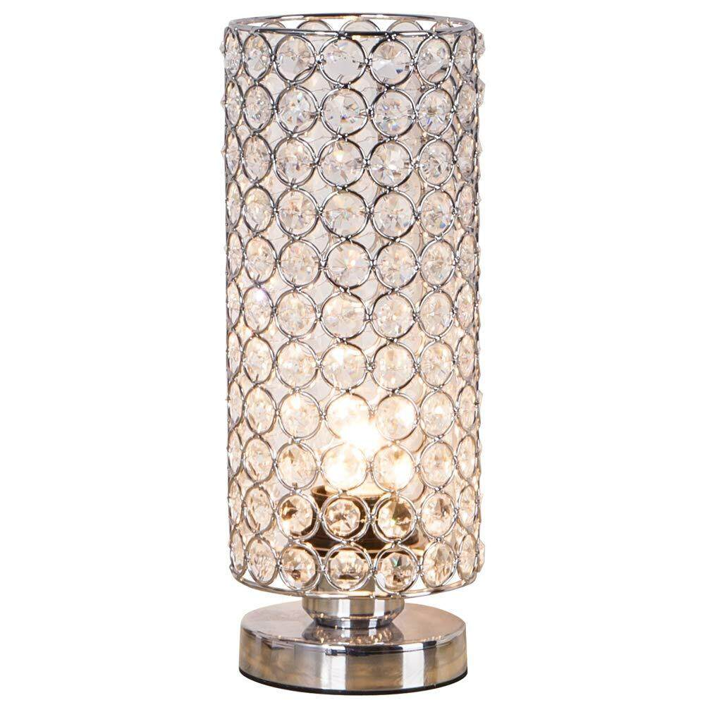 Crystal Table Lamp, Sturdy Decorative Room Lamp, Night Light Lamp, Table Lamps for Bedroom, Living Room, Kitchen, Dining Room (Silver)