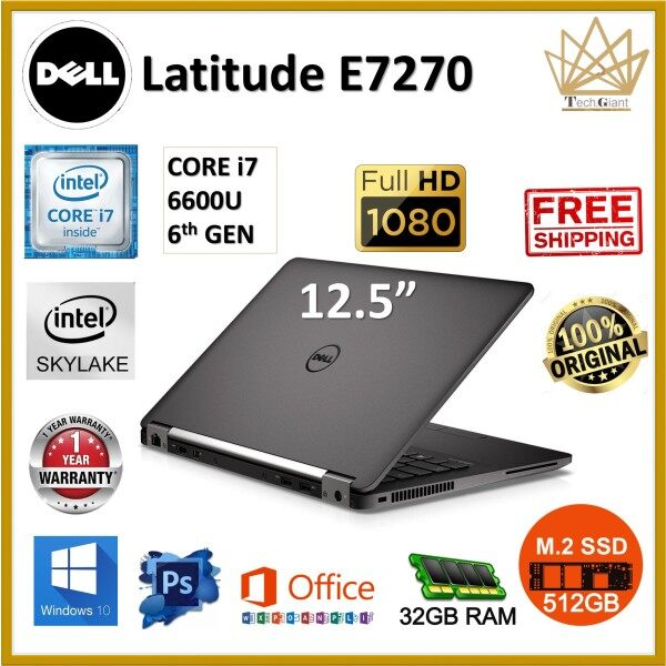 (HIGH SPEC) DELL E7270 CORE i7 (6TH GEN)  12.5 FHD / 32GB RAM / 512GB M.2 SSD / 12.5 inch FULL HD SCREEN / WINDOWS 10 PRO / REFURBISHED NOTEBOOK / DELL LATITUDE E7270 Malaysia