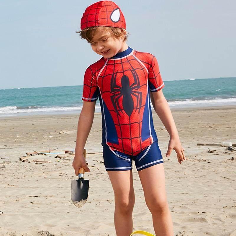 352a56e070 Boys swimwear Printed Cute Kids Swimsuit Sport Bathing Suit with Hat Short  Sleeve Bodysuit