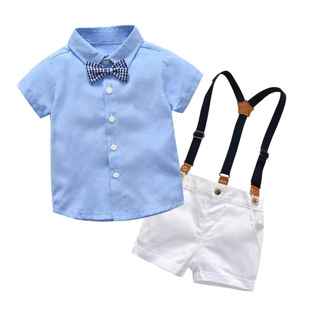 ccd8c9838670 ViviMall Infant Baby Boys Gentleman Bow Tie T-Shirt Tops+Shorts Overalls  Outfits Clothes