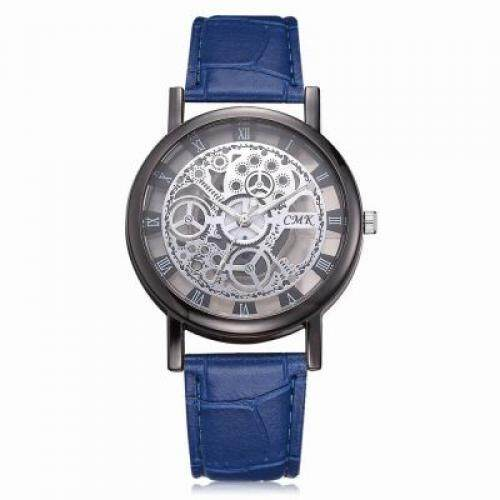 J001 Men Engraving Hollow Leather Band Quartz Dress Watch (BLUEBERRY BLUE) Malaysia