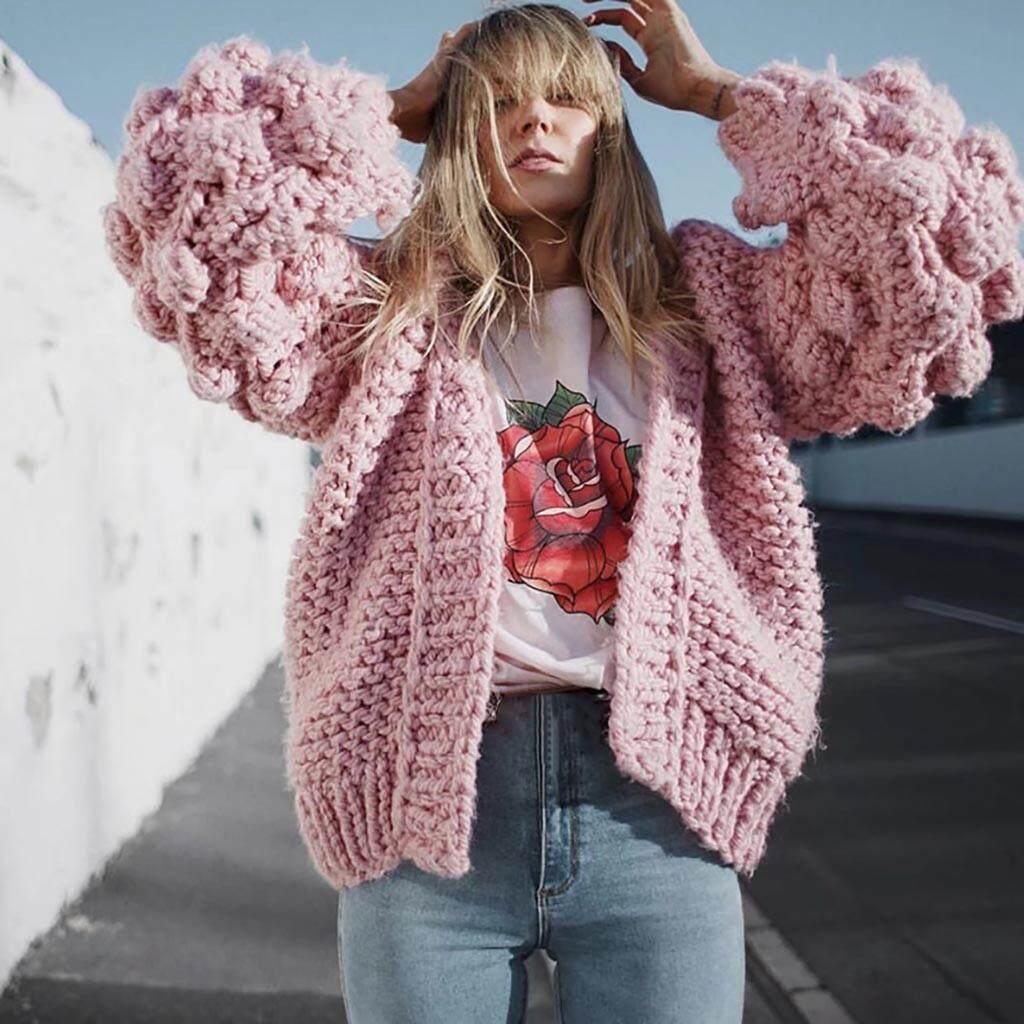 Tang Gongzi-Women Ladies Stereoscopic Ball Lantern Sleeve Sweater Short Knit Sweater