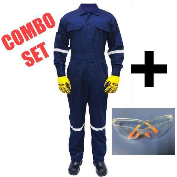 QUEST Safety Reflective Workwear Coverall Size L c/w Customize Name Embroidery & Safety Glass (COMBO SET)