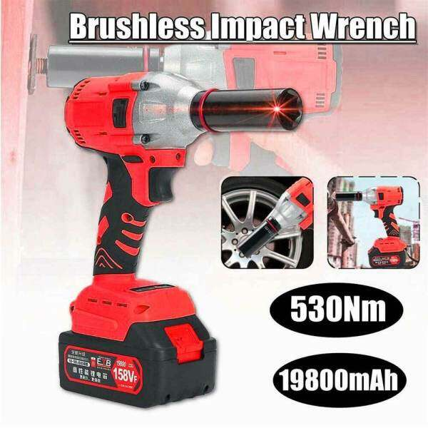 530Nm 158VF Electric Brushless Cordless Impact Wrench 1/2-Driver with 1x 19800m Ah-Li-ion Battery Ratchet Driver