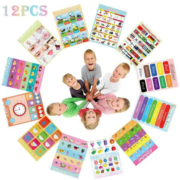 12PCS Educational Preschool Posters with PP Glue Nursery Home Kindergarten Classroom Teaching Animals Alphabet Colors Days Fruits Weather Cognition Map for Toddler and Kid 15.7 x 11.8 inch
